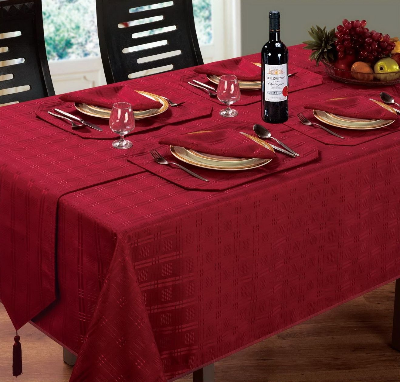 jacquard dining tablecloth round oblong square burgundy wine colour p